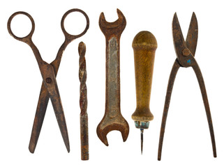 Old isolated tools:scissors, drill, wrench, awl, scissors for me