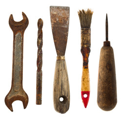 Old isolated tools:spatula, drill, wrench, awl, brush