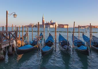 Venice - gondolas and San Giorgio Maggiore church