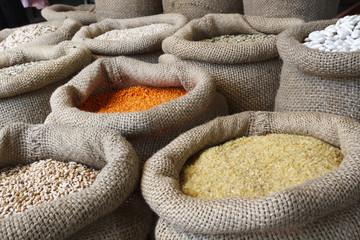Beans, rice, lentils, oats, wheat, rye and barley in jute sack