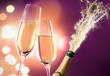 Obrazy na płótnie, fototapety, zdjęcia, fotoobrazy drukowane : Champagner-Splash Lila