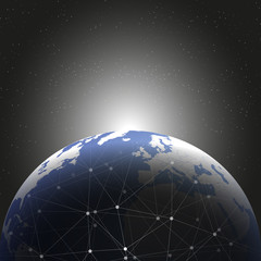 World globe connections network design illustration