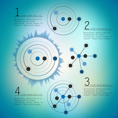 Abstract network with circles, vector eps10 illustration