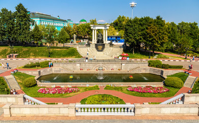 Garden near the Cathedral of Christ the Saviour in Moscow