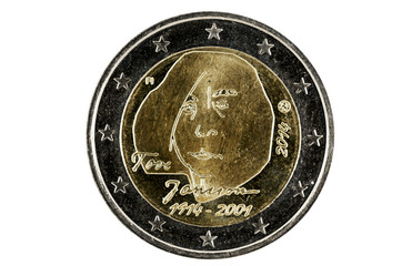 Obverse 2 Euro coins with the image of the well-known Finnish au