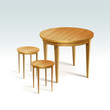 Vector Empty Round Wood Table with Two Chairs - 70411473