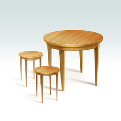 Vector Empty Round Wood Table with Two Chairs