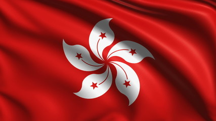 flag of Hong Kong with fabric structure; looping