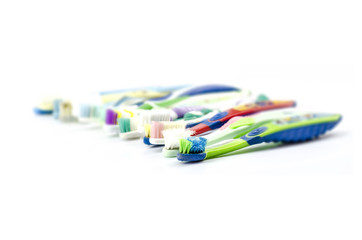 color full old toothbrush
