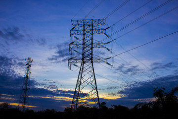 silhouette of high voltage electricity tower