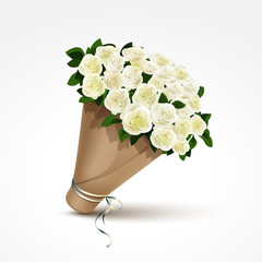 Bouquet of White Roses Isolated