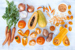 Obrazy na ścianę i fototapety : Orange hue toned collection fresh vegetables and fruits