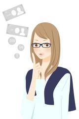 お金 ポイントを表現する笑顔の女性