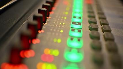 Music Mixer desk table in recording studio