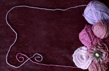 Background with skein and clew of thread