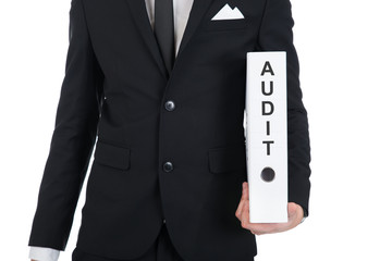 Businessman Holding Audit Folder