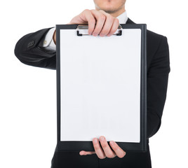 Businessman Holding Clipboard With Blank Paper