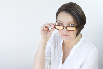 portrait of mature woman with glasses