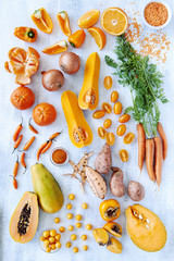 Orange hue toned collection fresh produce