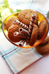 Tasty cookies on table, close-up