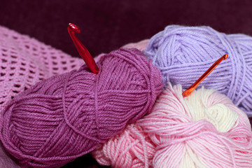 Background with skein and crochet