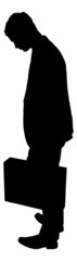 Sad Silhouette Businessman Carrying Briefcase