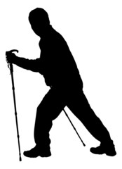Silhouette Hiker Holding Hiking Poles