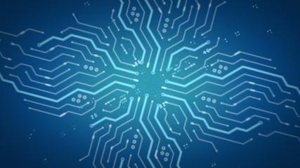 Computer Circuits Blue Zooming