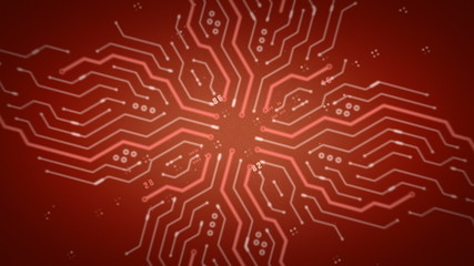 Computer Circuits Red Zooming