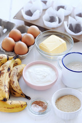 Raw Ingredients for Banana Loaf