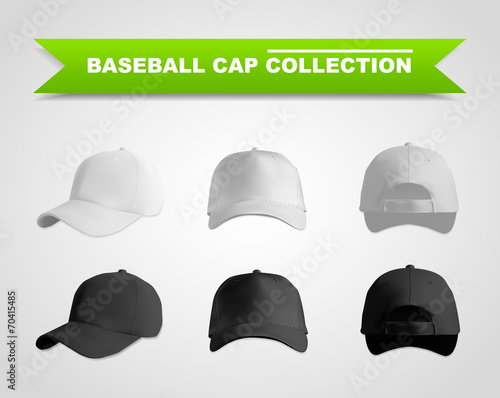 Baseball cap template set - 70415485