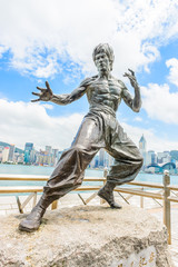 HONG KONG, CHINA - August 14: Bruce Lee statue at the Avenue of