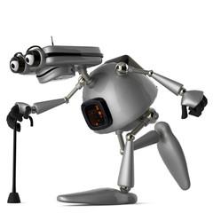 old robot bengal walking side view