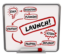 Launch New Business Dry Erase Board Plan Strategy Success Start