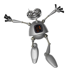 old robot jumping