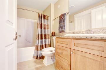 Clean bathroom with brown curtain