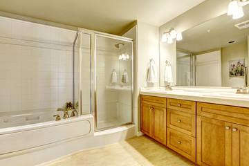 Spacious bathroom with bath tub and shower
