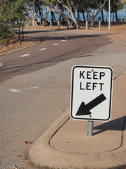 Keep left road sign