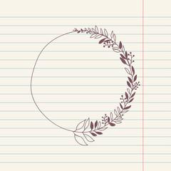 vector chalk doodle sketch of wreath