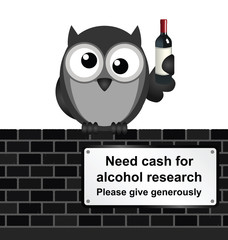 Monochrome comical alcoholic drink research sign