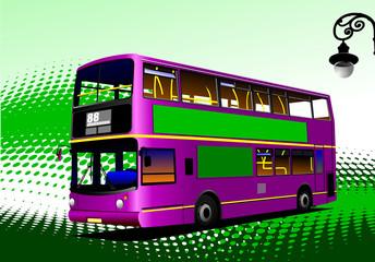 Purple city bus. Coach. Vector illustration