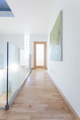 Contemporary corridor with glass banister