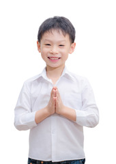 Liittle  Asian boy welcome expression Sawasdee