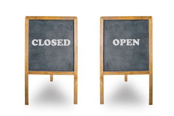 closed and open word write on blackboard