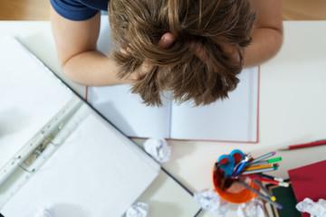 Student doing his homework