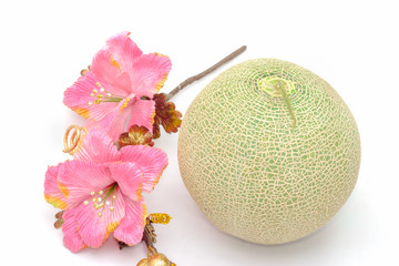 cantaloupe melon with flower on white background