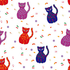 Seamless vector illustration with various stylized cats