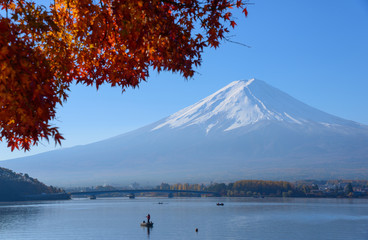 Mt.Fuji and Lake Kawaguchi in autumn