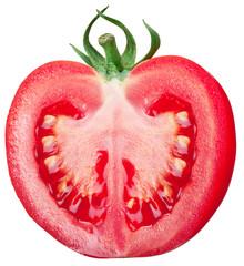 Half of tomato on a white background.