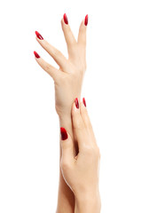 Female hands with red fingernails